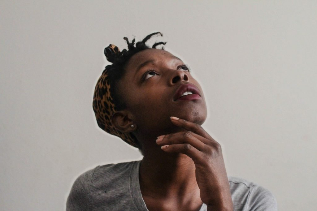 woman, african, looking up